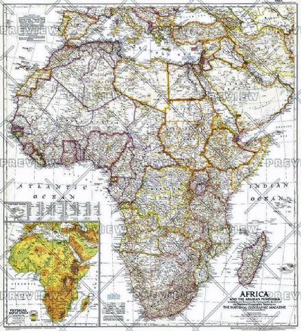 Africa and the Arabian Peninsula - Published 1950 by National Geographic